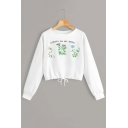 Always On My Mind Floral Plants Print Drawstring Hem White Crop Sweatshirt