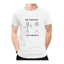 Funny Cartoon Letter Don't Worry Bro Printed Short Sleeve Cotton Graphic Tee