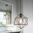 Industrial Modern Geometric Cage Pendant Light Iron 1-Light Pendant Lighting over Kitchen Island
