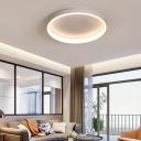 Metal Ring Flush Mount Ceiling Fixture Nordic Style LED Flushmount Light in Black/Brown/White