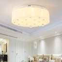 Living Room Drum Flush Mount Ceiling Light Crystal Accent Modern White Ceiling Light Fixture