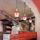 Red Unique Pendant Lights Contemporary Metal and Glass 1 Light Chain Hung Pendant for Coffee Shop
