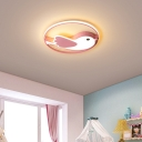 Modern Kids Bedroom Flush Light with Bird Shaped Shade and Ring Led Metallic Flushmount