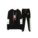 Fashion Money Heist Figure Printed Letter Drawstring Hoodie with Joggers Pants Two-Piece Set