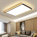 Living Room Rectangle Ceiling Lights Wooden LED Simple Style Flush Mount Lighting