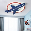 Blue and Red Airplane Flush Mount Light Acrylic and Iron 1 Light Flush Mount Lighting for Kids Room