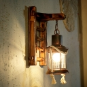 Distressed Sconce Lights Rustic Iron and Bamboo 1 Head Ladder Sconce Light Fixture for Coffee Shop