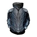 Cool Battle Armor 3D Printed Long Sleeve Grey Drawstring Pullover Hoodie