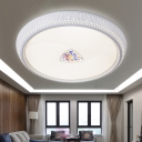 Metal Round Shade Flush Mount Lamp Fixture Bedroom 1 Light Modern Crystal Flush Light in White