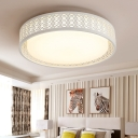 Hollow Design Drum Shade Living Room Flush Mount Light Acrylic LED Contemporary Ceiling Light in White