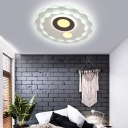 Contemporary Super Thin Round Ceiling Light Acrylic White and Brown Flush Mount for Bedroom