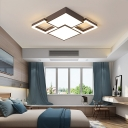 Brown Combination Fixture Rectangle/Square Ceiling Light Modern Metal Flush Mount for Bedroom