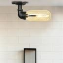 Black Semi Flush Mount Lighting Retro Style Iron 1 Light Semi Flush Light Fixtures with Amber Glass Shade