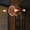 Rust Gear Ceiling Pendant Light Vintage Metal 4 Lights Open Bulb Hanging Lamps for Restaurant