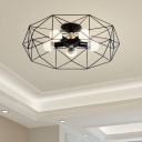 Geometric Semi-Flush Mount Contemporary Steel Unique Semi Flush Chandelier for Bedroom