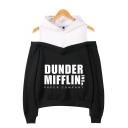 Hot Trendy Letter Dunder Mifflin Print Cold Shoulder Long Sleeve Pullover Hoodie