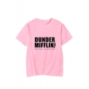 Hot Stylish Letter Dunder Mifflin Printed Basic Round Neck Short Sleeve Relaxed T-Shirt
