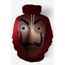 Trendy 3D Red Figure Printed Long Sleeve Pullover Hoodie