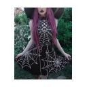 Stylish Spider Web Printed Lattice Embellished Sleeveless Black Mini Bodycon Dress