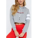 New Stylish Gray Letter Pattern Color Block Long Sleeve Loose Leisure Cropped Hoodie
