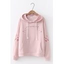 Girls Long Sleeve Letter Floral Embroidered Cotton Pullover Hoodie