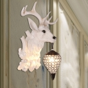 White Deer Wall Lamp with Clear Crystal Shade 1 Head Indoor Wall Sconce Light for Dining Room
