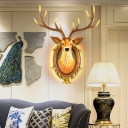 Led Deer Wall Mount Light Modern Rustic Resin Decorative Wall Lighting for Gallery