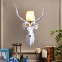 Tapered Fabric Shade Wall Lighting with Deer Head Art Deco Modern Sconce Lighting in Chrome