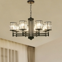 Black Cylinder Pendant Chandelier Modern Crystal and Iron Pendant Lights for Kitchen Dining