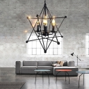Star Hanging Lights Contemporary Iron 4 Lights Ceiling Chandelier in Black for Restaurant