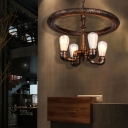 Bicycle Wheel Hanging Pendant Lights Industrial Metal 4 Bulbs Pipe Ceiling Light for Living Room