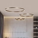 Simple Multi Ring Chandelier Lamp Energy Saving Led Hanging Pendant Light in Brown