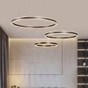 Simple Multi Ring Chandelier Lamp Energy Saving Led Hanging Pendant Light in Brown