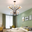 Modernism Candle Style Chandelier Metal and Wood 31.5