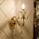 Brass Candle Wall Sconce Light Mid Century Metal Glass Wall Lamp Sconce with Crystal for Indoor