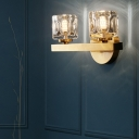 Modern Square Wall Lamps Metal and Crystal 1/2 Light Wall Sconce Fixture in Brass for Living Room