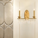 2 Light Candle Sconce Light Fixture Mid Century Metal and Crystal Wall Lamp Sconce for Bedroom Living Room