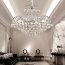 Spray Crystal Ball Hanging Chandelier Modern Sparkling Chandelier Light in Silver for Living Room