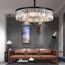 2-Tier Drum Lighting Fixture Modern Crystal Metal 4/8/12 Heads Hanging Pendant Lights in Black for Bedroom