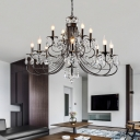 Matte Black Candle Pendant Lighting Traditional Iron Crystal 6/8/12 Light Hanging Chandelier with Adjustable Chain