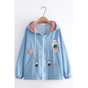 Pretty Rabbit Embroidered Patchwork Plaid Printed Rabbit Ear Hooded Zipper Denim Jacket For Girls