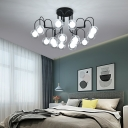 Modern Modo Ceiling Lamp with Clear Glass Shade 15 Lights Bedroom Semi Flush Lighting in Black