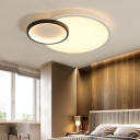 Contemporary Circular Flush Lighting Acrylic Led Ceiling Flush Mount Light in Black and White