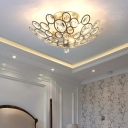 Silver Bowl Ceiling Light Fixture Modern Crystal Metal 3 Light Semi Flush Mount Light for Foyer