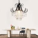 Crystal Drop Chandelier Lighting Modern Indoor Hanging Ceiling Light in Black/Gold