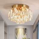 Gold/Chrome LED Ceiling Fixture Contemporary Unique Crystal Fringe Ceiling Lights for Corridor Hallway