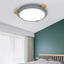 Wood and Iron Flush Mount Light Nordic Style Round Flush Mount Ceiling Lights in White/Grey/Green for Indoor