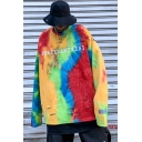 Guys Vintage Tie Dye Letter PEACESANTREN3 Printed Ripped Detail Round Neck Long Sleeve Pullover Sweatshirt