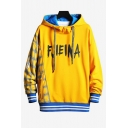 Mens New Fashion Letter Printed Plaid Patched Long Sleeve Casual Hoodie