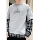 Mens Fashion Letter Printed Popular Plaid Patched Fake Two-Piece Long Sleeve Round Neck Pullover Sweatshirt